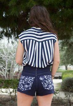 Vintage Dark Blue Denim Shorts With Floral Pockets