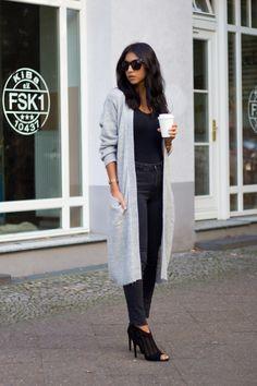 grey cardigan + all black outfit (instead of heels, black leather slip on Vans)