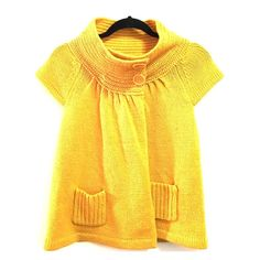 Forever 21 Short Sleeved Cowl Neck Knit Sweater Adorable yellow short sleeved knit sweater with 2 buttons at the top & 2 pockets at the bottom. Looks adorable with a long sleeved shirt underneath for winter or open with a tank underneath & jeans for summer! Forever 21 Sweaters Crew & Scoop Necks