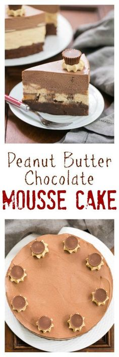 Peanut Butter Chocolate Mousse Cake | A brownie base topped with both peanut butter and chocolate mousse make a dream dessert! /lizzydo/
