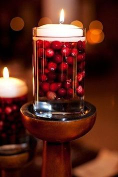 If you have a candle stand, great; if not, the cup would still look awesome sitting on the table. Fill a cup with cranberries and a little water, than set a floating candle on top. Do not eat the cranberries as they will be waterlogged and dripping in wax. #Centerpieces #Christmas