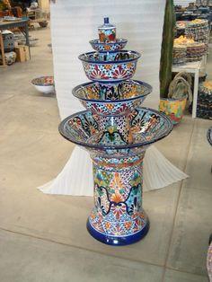 Talavera Garden Fountain - Mexican Connexion for Talavera Pottery Mexican Home Decor, Mexican Folk Art, Mexican Style, Talavera Pottery, Ceramic Pottery, Earthenware, Stoneware, Mexican Garden, Mexican Hacienda