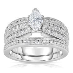 Eloquence 14k Gold 1/6ct TDW One-Of-A-Kind Marquise Cut Solitaire Bridal Ring Set