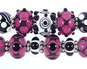 Raspberry Pink and Black  Lampwork Bead Set (11) Sharpline Designs  SRA