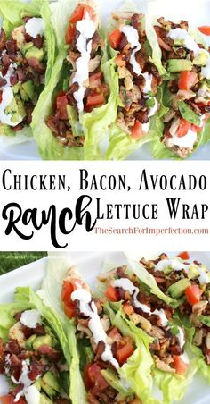 It's like a BLTA in lettuce wrap form, topped with ranch dressing. So delicious! #lettucewraps #lowcarbmeal #chickenbaconavocado www.thesearchforimperfection.com