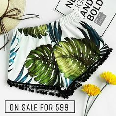 Hurry ! Quick ! Faster! The Times Running Out  Shop The Sale((( Now))) Pom Pom Trim Elasticized Tropical Shorts At 599 INR ONLY . . Click The Link In Bio @zooomberg . . . #instagram #girls#love #sun #fun #girl #cute #happy #ootd #igers #follow #followme #instafashion #instagood #instashop #shopping #style #streetstyle #fashion #styleinspiration