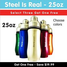 THINKSPORT INSULATED SPORTS BOTTLE - 25OZ(750ML).  Double-walled and vacuum-sealed stainless steel - keeps contents hot or cold for hours  Perfect for hot or cold beverages - does not sweat (for cold contents) or burn your hand (for hot contents) Contoured design - makes the bottle easy to hold and visually distinctive from the many, many straight-walled bottles  Removable mesh filter - keeps ice from blocking the drinking spout and allows users to conveniently brew tea on the go ~FoodBabe