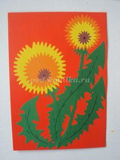 Аппликация из цветной бумаги «Одуванчики». Мастер-класс с пошаговым фото