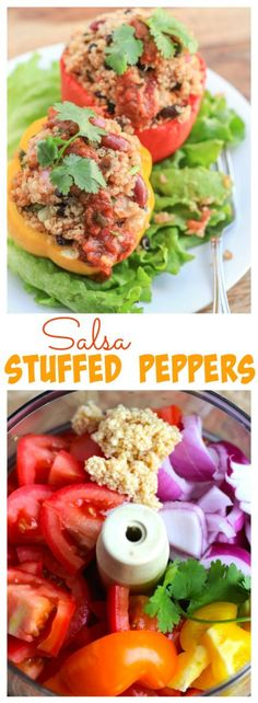 Roasted bell peppers stuffed with quinoa and fresh cilantro lime salsa. Salsa stuffed peppers will be your new favorite meatless Monday meal!   Salsa stuffed peppers are one of our favorite easy healthy dinners! Vegetarian, dairy-free,  and gluten-free.