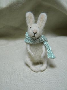 Little bunny with scarf  needle felted ornament by feltingdreams, $38.00