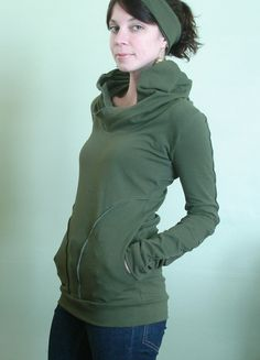 hooded top with pockets Olive Green by joclothing on Etsy, $60.00