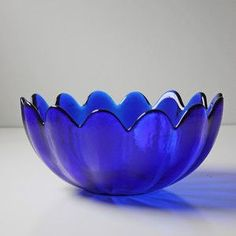 Cobalt Blenko Serving Bowl. Made in Milton, WV.