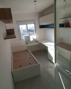40 veľkých nápadov pre malé izby - sikovnik.sk Comfy Bedroom, Small Room Bedroom, Teen Bedroom, Modern Bedroom, Bedroom Decor, Contemporary Bedroom, Master Bedroom, Bed Room, Space Saving Bedroom
