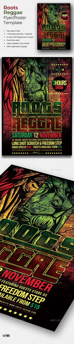 Roots Reggae Flyer Template by lou606 1 Photoshop psd file, 1 help file. A4 size (21×29.7 cm) or (8.3×11.7 inch) with bleed (21.6×30.3 cm) or (8.5×11.9 inch). Print Rea