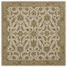 Add an elegant and timeless design to your home decor with this stunning Scarlett square rug. Hand-tufted in India with 100-percent virgin wool, this sophisticated beige rug features ornate Oriental detailing to bring traditional style to any space.