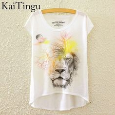 KaiTingu 2016 Brand New Fashion Summer Asymmetric High Low Style Harajuku Sad Owl Print Shirt Short Sleeve T Shirt Women Tops