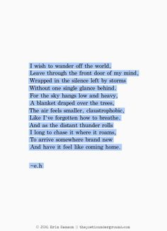Wander off the World. thepoeticunderground.com #poem #poetry