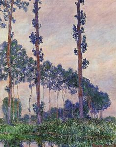 Trees in Grey Weather-Claude Monet Repro Oil Painting on Canvas Renoir, Claude Monet, Aesthetic Painting, Impressionist Paintings, Oil Paintings, Oil Painting Reproductions, Pictures To Paint, Oil Painting On Canvas, Cool Art