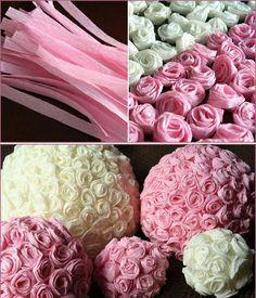 Bohut Acha Se cortan tiras de papel crep se enrollan en espiral y vas haciendo muchas rosas que se pegan a una pelota de telgopor o lampara de papel china .