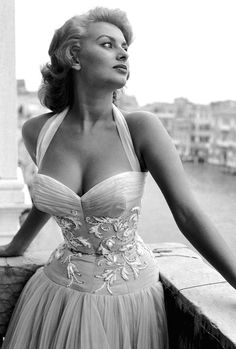 Sophia Loren standing on a terrace on the Canal Grande, Venice, 1955
