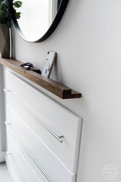 DIY Thin Modern Wood Shelf (With Partial Ledge DIY Split Level Entry Makeover- I LOVE this entry. The oversize door, scandi influence and that shoe storage! Thin Shelves, Diy Wood Shelves, Wood Storage, Diy Storage, Storage Ideas, Storage Design, Storage Shelves, Shelving, Split Entry Remodel