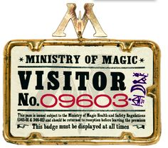 Harry Potter printables (ministry of magic visitors' badge)