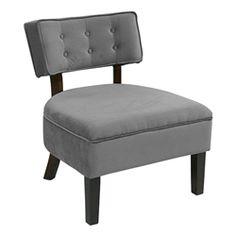 Curves Series Button Chair - Charcoal velvet