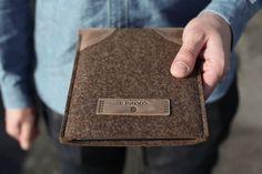 handmade linen and leather ipad case   iPad Air / iPad mini Sleeve