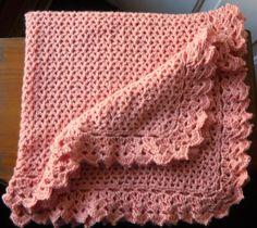 Crochet Baby Blanket  Soft Peach