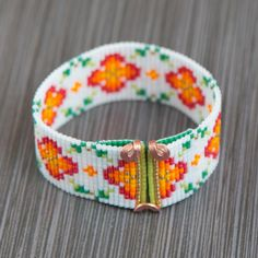 Sunny Month of May Bead Loom Cuff Bracelet Native American
