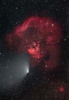 Comet Panstarrs passing by Cederblad 214 nebula ; April 29th 2013.