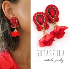 Clip on soutache Red flower earrings red soutache earrings red gold dangle earrings ohrringe soutache soutache jewelry trend orecchini - Excited to share the latest addition to my shop: Clip on soutache Red flower earrings red sou - Red Earrings, Flower Earrings, Tassel Earrings, Etsy Earrings, Diamond Earrings, Soutache Jewelry, Beaded Jewelry, Gold Jewelry, Etsy Jewelry