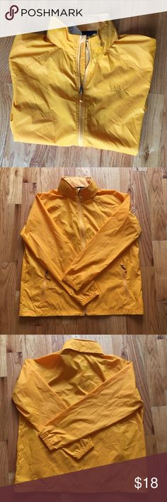 """XXL LL BEAN Yellow Windbreaker """"Alpine Gold"""" Casco Bay Windbreaker. Size XXL. I bought it for my husband a few years ago and he NEVER wore it! 😡 It's yours now! Take it! Brand new with tags! Paid $26.99. Retails at outlet for $39.95. There is a hood that you can take out or keep in! (I took a zoomed in photo of the Velcro to show you!) Super handy to have! L.L. Bean Jackets & Coats Windbreakers"""