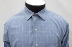 ~SOLD~Brooks Brothers Men's Blue Yellow Windowpane Supima Cotton L/S Shirt, SZ 16 1/2 #BrooksBrothers