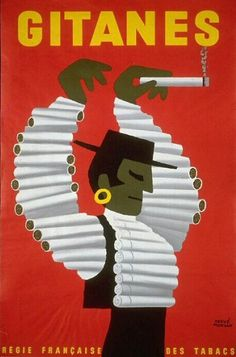 illustration publicitaire : cigarettes Gitanes, rouge