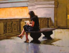 """""""Seating Arrangement"""" by Karin Jurick   Resting on a bench on the upper floor of the Metropolitan Museum of Art."""