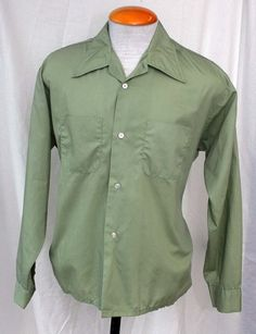 Men's 1960s Dangos Durapress Green Long Sleeve Shirt