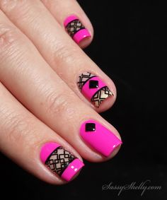 Negative Space Nails - neon pink and black geometric stamping with UberChic and Pretty Serious | Sassy Shelly  #nails #nailart