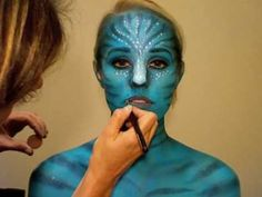 "Avatar inspired Halloween tutorial with Brooke Adams ""Neytir.- Avatar inspired Halloween tutorial with Brooke Adams ""Neytiri"" Avatar inspired tutorial with Brooke Adams from MUSIC:"" Scratch"" by - Fx Makeup, Body Makeup, Cosplay Makeup, Costume Makeup, Makeup Ideas, Avatar Halloween, Halloween Looks, Halloween Diy, Halloween Face Makeup"