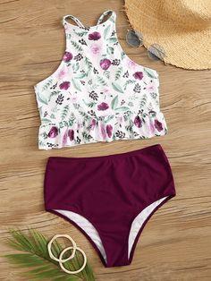 Shein Random Floral Peplum Top With High Waist Bikini Set Bathing Suits For Teens, Summer Bathing Suits, Cute Bathing Suits, Mode Du Bikini, Haut Bikini, Bikini Set, Usa Bikini, Floral Bikini, Bandeau Bikini