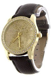 DIVA & DUCHESS SPARKLY PAVE EDGED GLITZY FACE ANALOG WATCH
