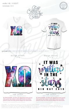Chi Omega | Chi O | It Was Written in the Stars | Quotes | Bid Day | Recruitment | Sisterhood | Galaxy Print | Space Theme | South by Sea | Greek Tee Shirts | Greek Tank Tops | Custom Apparel Design | Custom Greek Apparel | Sorority Tee Shirts | Sorority Tanks | Sorority Shirt Designs