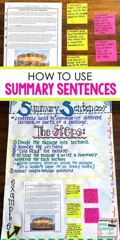 Increase reading comprehension by using summary sentences. This reading strategy helps students break down reading passages so that they can fully understand a text. Grab some Free Reading Passages with Text Dependent Questions while you read the post. Reading Test, 5th Grade Reading, Reading Intervention, Reading Lessons, Free Reading, Reading Workshop, Reading Charts, Close Reading, Summarizing Activities