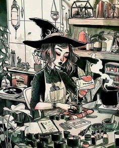 Art And Illustration, Witch Aesthetic, Aesthetic Art, Aesthetic Drawing, Pretty Art, Cute Art, Witch Wallpaper, Witch Drawing, Arte Sketchbook