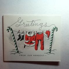 Vintage Fravessi Xmas Greeting Card Santa's Red Outfit on Clothesline Adorable | eBay