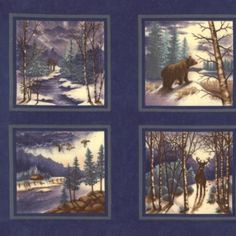 Winter Forest Flannel Panel Blue