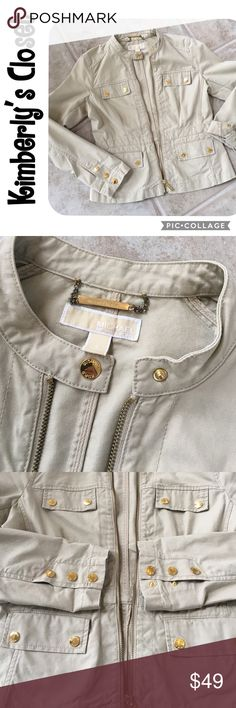 🛍MICHAEL KORS🛍 Jacket Super sharp MICHAEL KORS jacket.  Tan with gold snap and zipper details.  All snaps and zipper are embossed with Michael Kors.  100% cotton, machine washable.  Gently used - great condition.  Perfect neutral spring and summer jacket to compliment just about any outfit! Michael Kors Jackets & Coats