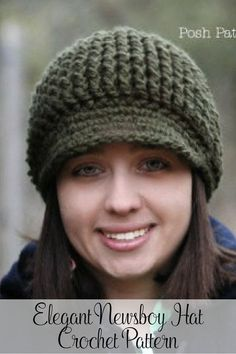 09f0dbe2a06 An elegant and cozy crochet newsboy hat pattern for all ages and genders.  Perfect for