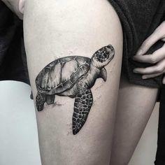 Dotwork Sea Turtle Tattoo