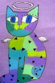 One crayola short: Laurel Burch cat tutorial and many other tutorials - great art teaching blog!
